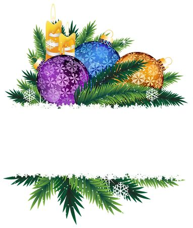 Colorful Christmas baubles and burning candles  Christmas composition with place for text  Stock Vector - 17085613