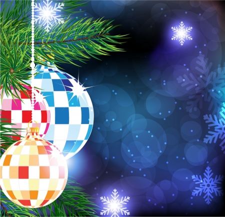 Sparkling Christmas ornaments on a blue winter background  Stock Vector - 17085600
