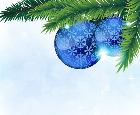 Fir tree branches withblue baubles on a blue sparkling background Stock Vector - 17085611