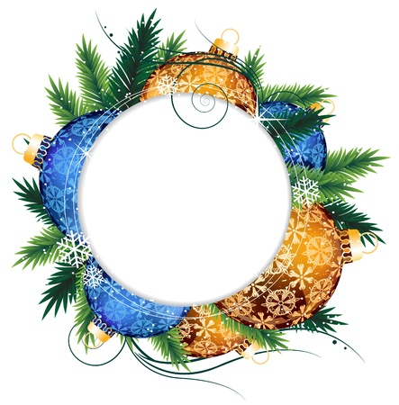 Christmas wreath with blue and orange ornaments with white place for text Stock Vector - 17085612