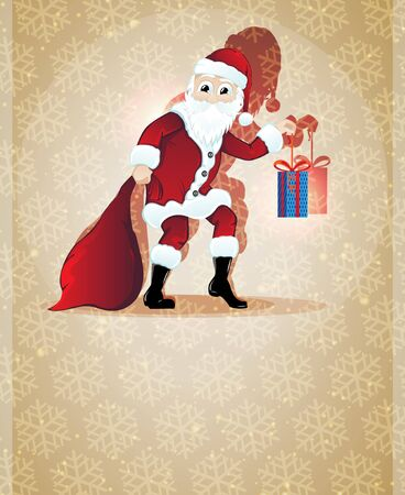 Cheerful Santa Claus with bag and gift box on a beige background Stock Vector - 17085589