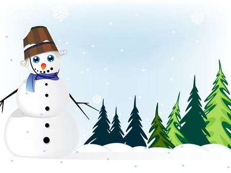 Smiling snowman with a bucket  in a  pine forest  Winter Landscape  Vector