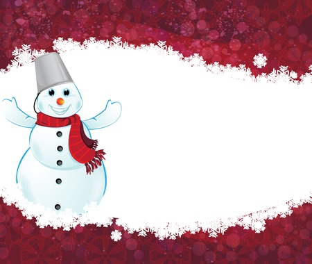 Happy snowman with a scarf on a red background with snowflakes Stock Vector - 17085616