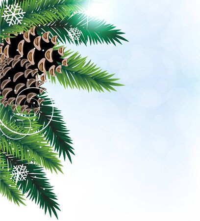 Pine branches with cones on a blue background Stock Vector - 17085592
