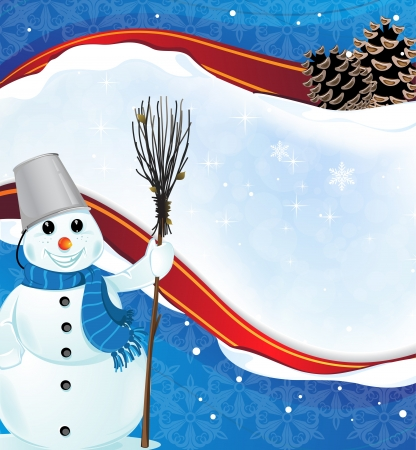 Smiling snowman with a broom on a frozen blue background Stock Vector - 17085597