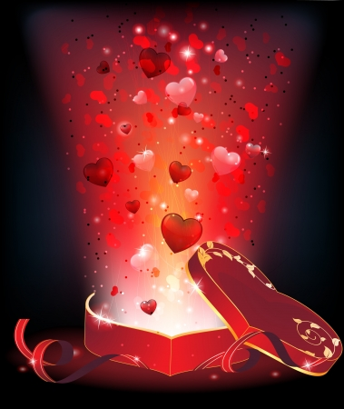 Bright light and fireworks with hearts from an open box of chocolates  Valentines Day abstract background  Vector