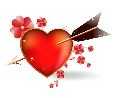 heart arrow: Heart pierced by an arrow Cupid   Bright vector illustration of a love theme Illustration