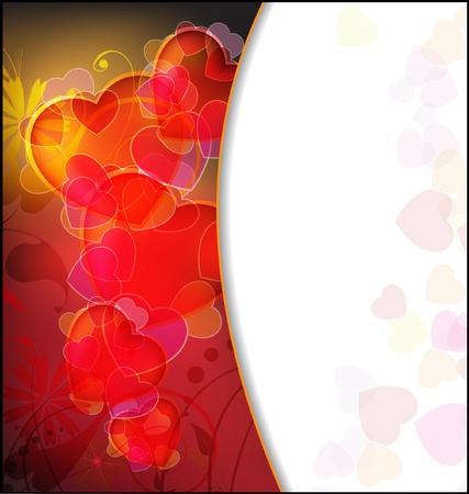 valentine's: Hearts on an abstract floral background  Valentine s Day frame  Illustration