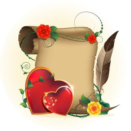 pluma de escribir antigua: Dos corazones brillantes con motivos florales pergamino, tintero y pluma tarjeta del d�a de San Valent�n rom�ntico