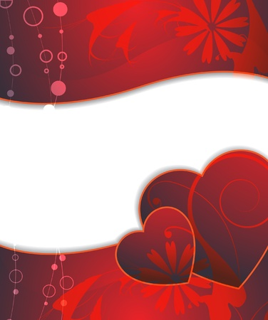 claret:  Claret hearts on the floral background