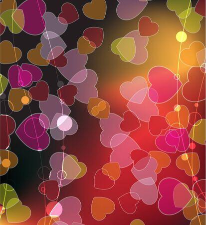 Celebratory background of randomly scattered hearts Stock Vector - 17466212