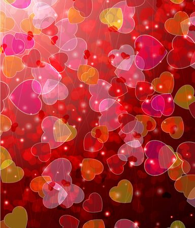 Flying transparent hearts and sparks.  Valentine's Day romantic background. Stock Vector - 17466186