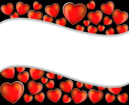 Red hearts on a wavy black background Stock Vector - 17466213