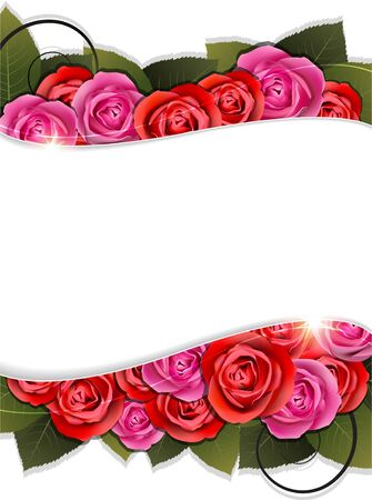 Red and pink rose flower bouquet. Abstract floral frame. Stock Vector - 17529221