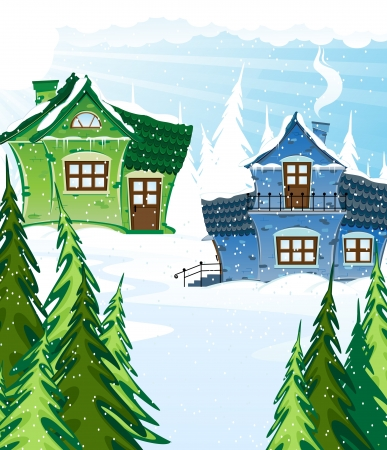 Green and blue houses in a pine forest. Winter landscape.