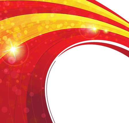 Sparkling red and yellow concentric abstract background  Vector