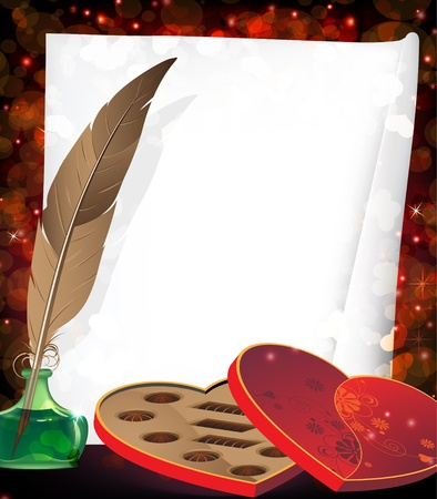 inkpot: Box of chocolates, inkpot with feather and sheet of paper on a red background with transparent hearts
