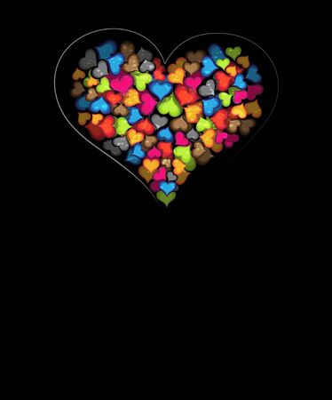 Original heart on a black background  Bright Valentines card with many colorful hearts