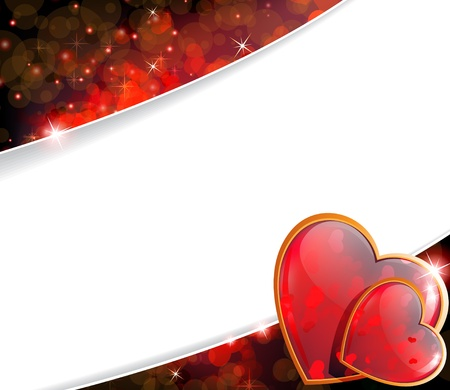 claret: Two shining hearts on a sparkling claret background  Valentines Day greeting card