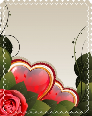 Valentine hearts and rose on a beige background  Vector