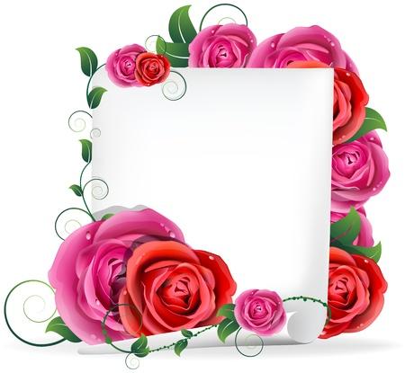 赤とピンクのバラのブーケとホワイト ペーパー 写真素材 - 17529228