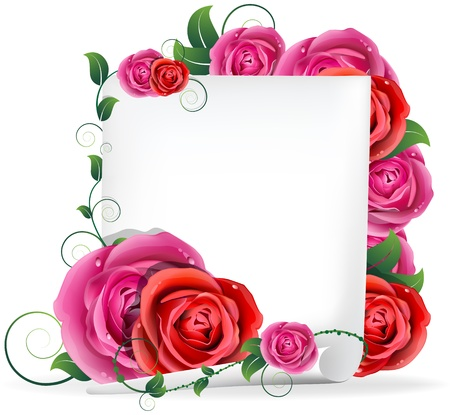 Red and pink roses bouquet and white paper Stock Illustratie
