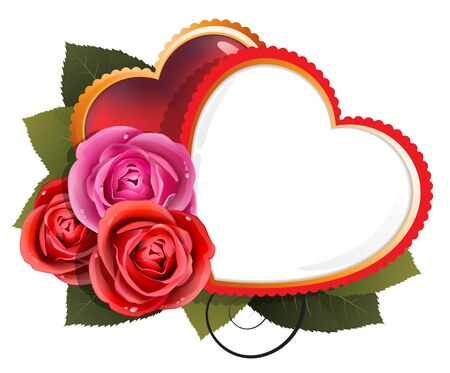 Valentine hearts and roses on a white background Stock Vector - 17529199