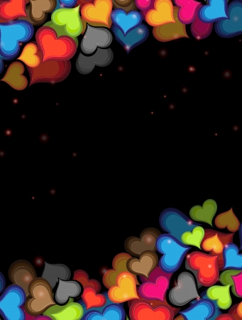 Many colorful hearts on a black background  Illustration