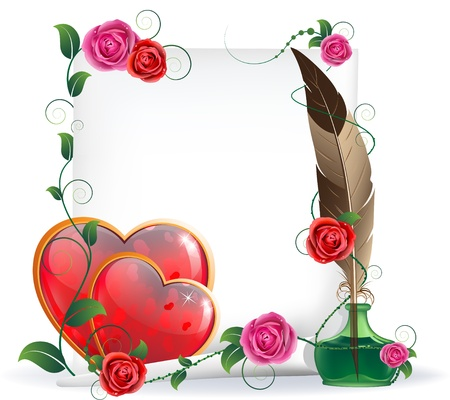 parchment scroll: Shining hearts with floral pattern, parchment, inkwell and feather. Valentines Day card. Illustration