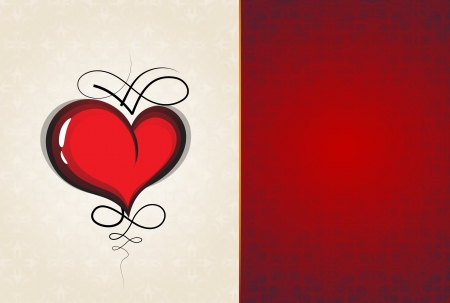 voluptuous: Valentine heart with vintage pattern on a red and beige background
