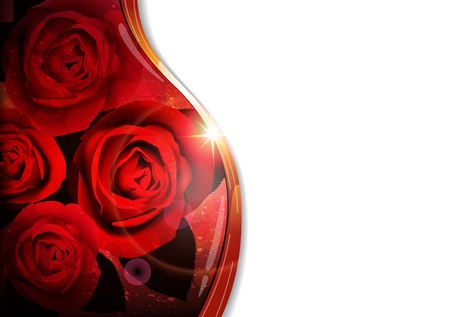 red rose: Bouquet of red roses on abstract background with place for text. Valentines Day card. Illustration