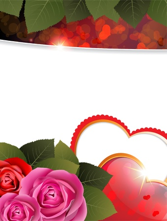 Valentine hearts and roses on a white background with place for text Stock Vector - 17778900