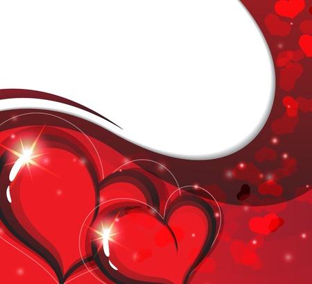 voluptuous: Valentine hearts on a sparkling wavy background. Symbol of love Illustration