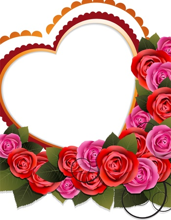 Valentine hearts and roses on a white background  Stock Vector - 17778906