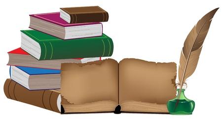 Stapel van oude boeken en schrijfgerei