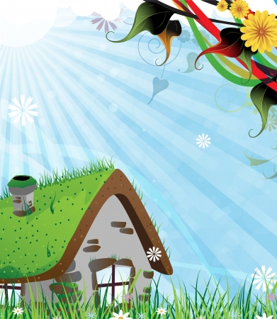 Small brick house on a green spring meadow Vector