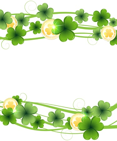 Clover and gold coins on a white background St Patrick