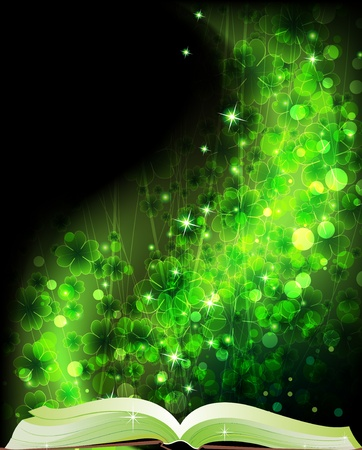 Book of fairy tales on a magic clover background Vector