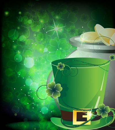 Leprechaun hat and  pot with gold coins on floral background  St  Patrick s abstract background Vector