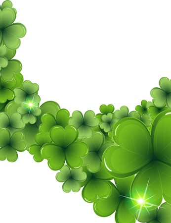 Magic sparkling clover on a white background   St  Patrick Stock Vector - 18315489