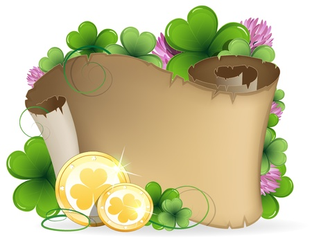 Ancient scroll, clover and gold coins on a white background  St  Patrick Vector