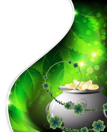 Leprechaun Pot with gold coins on abstract  background  St  Patrick Иллюстрация