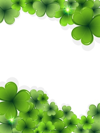 Sparkling clover on a white background   St  Patrick