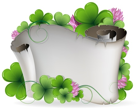 Ancient scroll and clover on a white background  St  Patrick