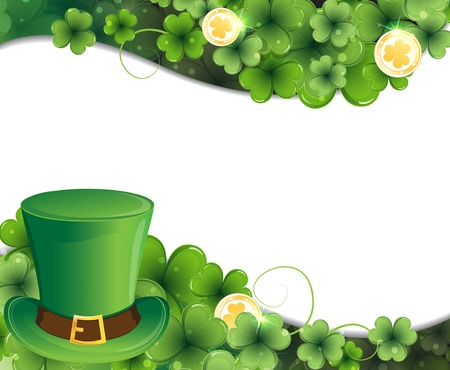 Leprechaun hat on clover and gold coins. St. Patricks Day background.