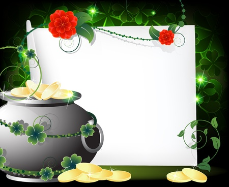 Kettle with gold coins and  blank sheet of paper on a green background. St.Patrick`s Day abstract background Vector