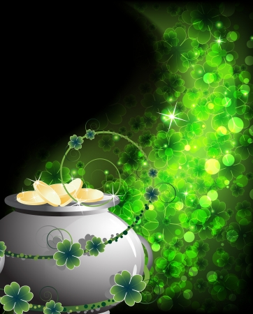 Leprechaun Pot with gold coins on an abstract clover background. St. Patricks Day abstract background