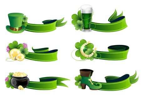 St. Patricks Day icon set. Holiday symbols with ribbons on a white background Vector