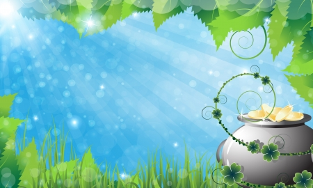 Pot with gold coins on abstract spring background. St. Patrick's Day abstract background Иллюстрация