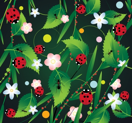 Ladybirds and ants on a vegetative background Vector
